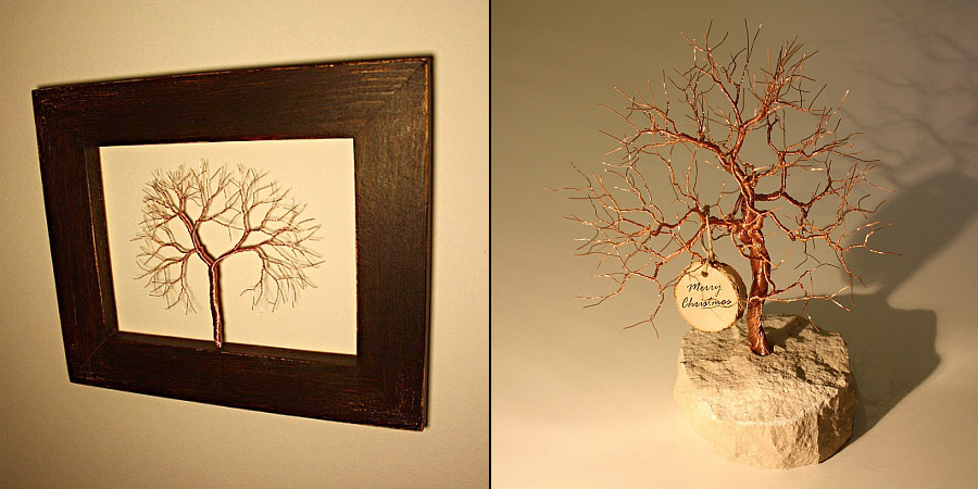 Hand twisted copper wire tree sculptures
