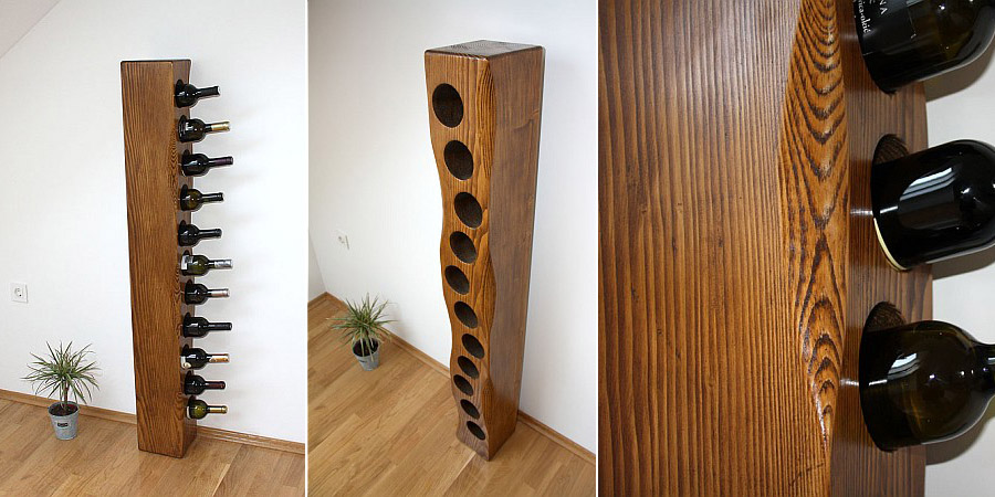 NEW - Solid wood wine rack for 11 bottles...