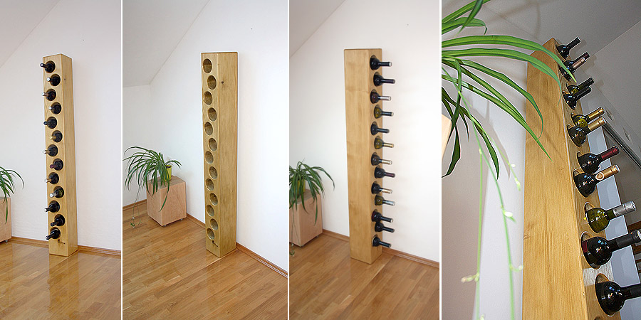 NEW - Solid wood wine rack for 13 bottles...